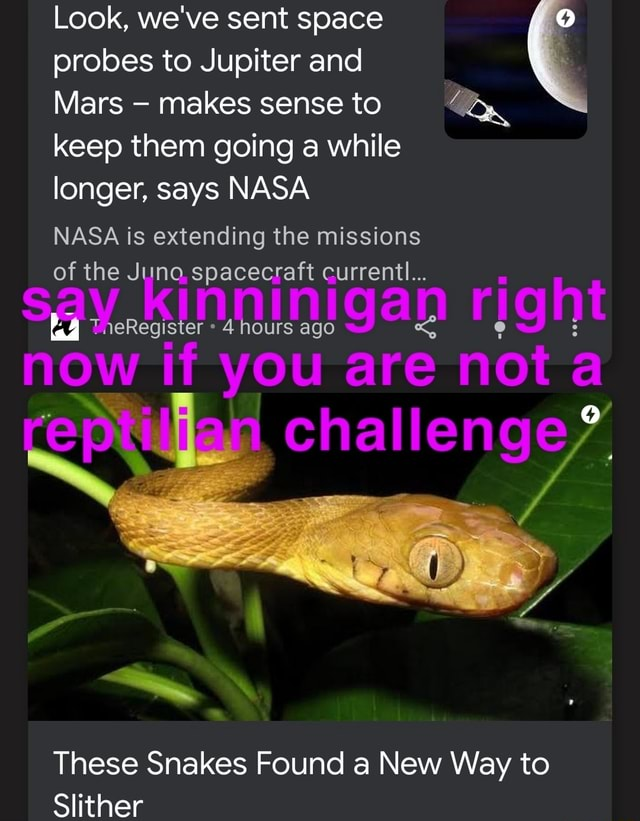 Look, we've sent space probes to Jupiter and Mars makes sense to keep them going a while longer, says NASA NASA is extending the missions of the Juno spacecraft hours current ago ht 4 ninigan rig now if you are not These Snakes Found a New Way to Slither meme