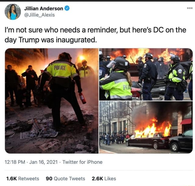Anderson I'm not sure who needs a reminder, but here's DC on the day Trump was inaugurated. PM Jan 16, 2021 Twitter for iPhone meme