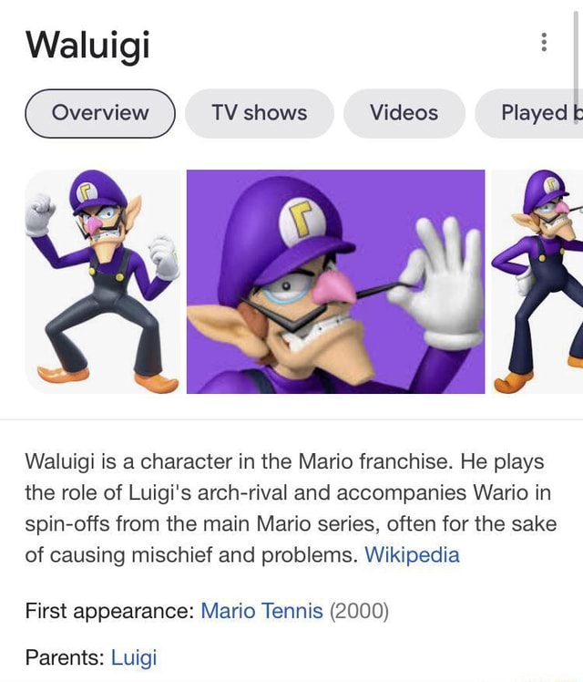Waluigi TV shows Played k Waluigi is a character in the Mario franchise. He plays the role of Luigi's arch rival and accompanies Wario in spin offs from the main Mario series, often for the sake of causing mischief and problems. Wikipedia First appearance Mario Tennis 2000 Parents Luigi meme