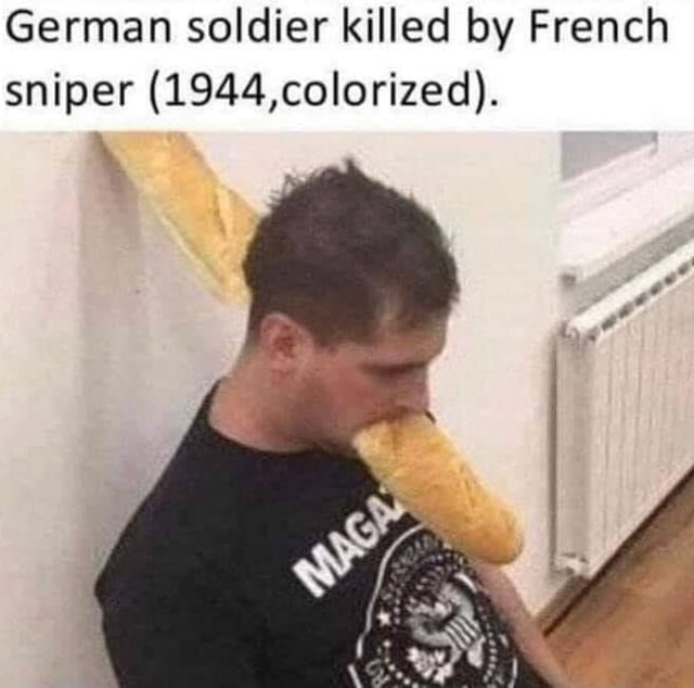 German soldier killed by French sniper 1944, colorized meme