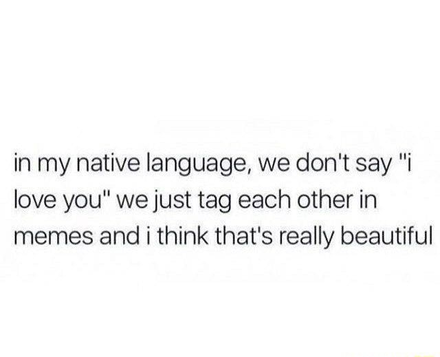 In my native language, we do not say i love you we just tag each other in memes and i think that's really beautiful