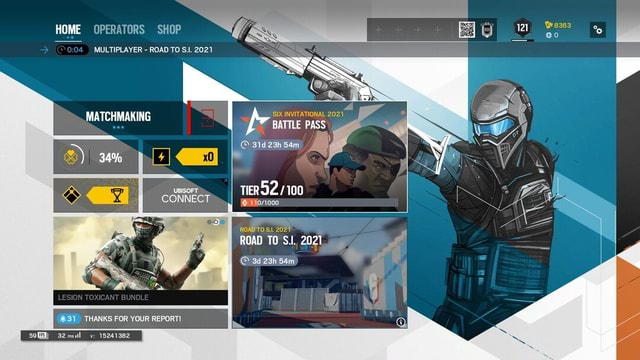 HOME OPERATORS SHOP MULTIPLAYER ROAD TO SI. 2021 SIX INVITATIONAL 2021 BATTLE PASS MATCHMAKING 121 TIER UBISOFT CONNECT 34% ROAD TO S 2027 ROAD TO SJ. 2021 LESION TOXICANT BUNDLE 31 THANKS FOR YOUR REPORT 59GM 32msul v 15241382 memes