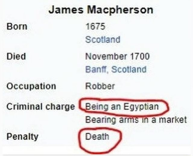 James Macpherson Born 1675 Scotland Died November 1700 Bay Scotland Occupation Robber Criminal charge Being an Egyptian Bearing arn a market Penalty Death meme