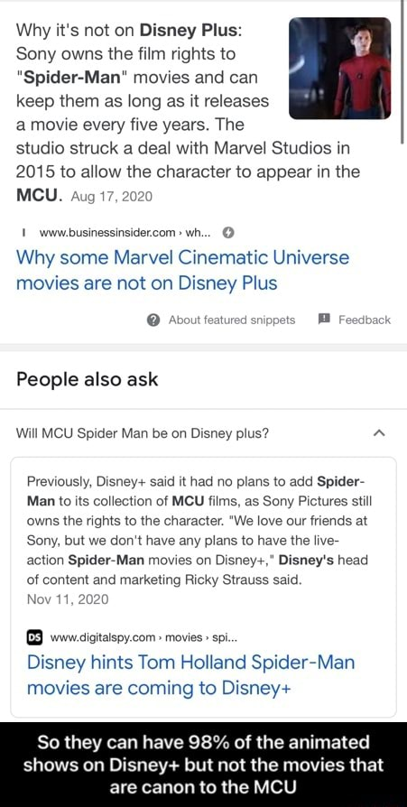 Why it's not on Disney Plus Sony owns the film rights to Spider Man movies and can keep them as long as it releases a movie every five years. The studio struck a deal with Marvel Studios in 2015 to allow the character to appear in the MCU. Aug 17, www.businessinsider.com wh Why some Marvel Cinematic Universe movies are not on Disney Plus Avout featured snippets Feedback People also ask Will MCU Spider Man be on Disney plus Previously, Disney said it had no plans to add Spider Man to its collection of MCU films, as Sony Pictures still owns the rights to the character. We love our friends at Sony, but we do not have any plans to have the live action Spider Man movies on Disney , Disney's head of content and marketing Ricky Strauss said. Nov 11 Disney hints Tom Holland Spider Man movies are c