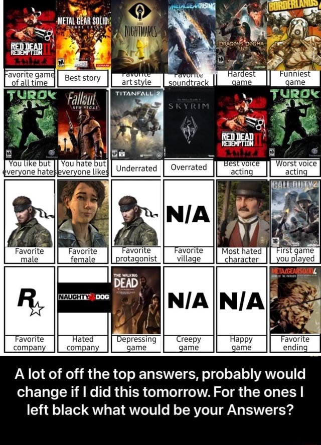 Favorite Favorite Most hated male female character METAL GEAR REDEMPTION You hate but likeg II N iy avorite compan} II A lot of off the top answers, probably would change if I did this tomorrow. For the ones I left black what would be your Answers  A lot of off the top answers, probably would change if I did this tomorrow. For the ones I left black what would be your Answers meme