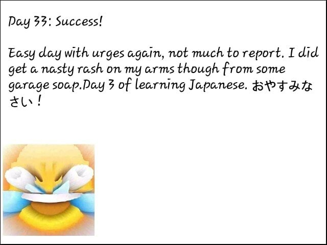 Day 33 Success Easy day with urges again, not much to report. I did get a nasty rash on my arms though from some garage soap.Day 3 of learning Japanese. BOFAL au memes