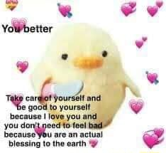 Yowbetter because I love you and you di because are an actual blessing to the earth memes