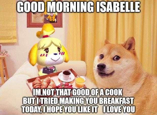 GOOD MORNING ISABELLE IM NOT THAT GOOD OF COOK BUTI TRIED MAKING YOU BREAKFAST TODAY, }HOPE YOULIKEIT ILOVEYOU memes