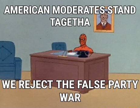 AMERICAN MODERATES STAND TAGETHA WE REJECT THE FALSE PARTY WAR memes