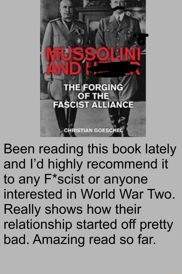STAN Been reading this book lately and I'd highly recommend it to any F*scist or anyone interested in World War Two. Really shows how their relationship started off pretty bad. Amazing read so far memes