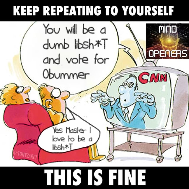 KEEP REPEATING TO YOURSELF  You wil be a dumb libSh*T and vote for  Obummer ZA CNN THIS US memes
