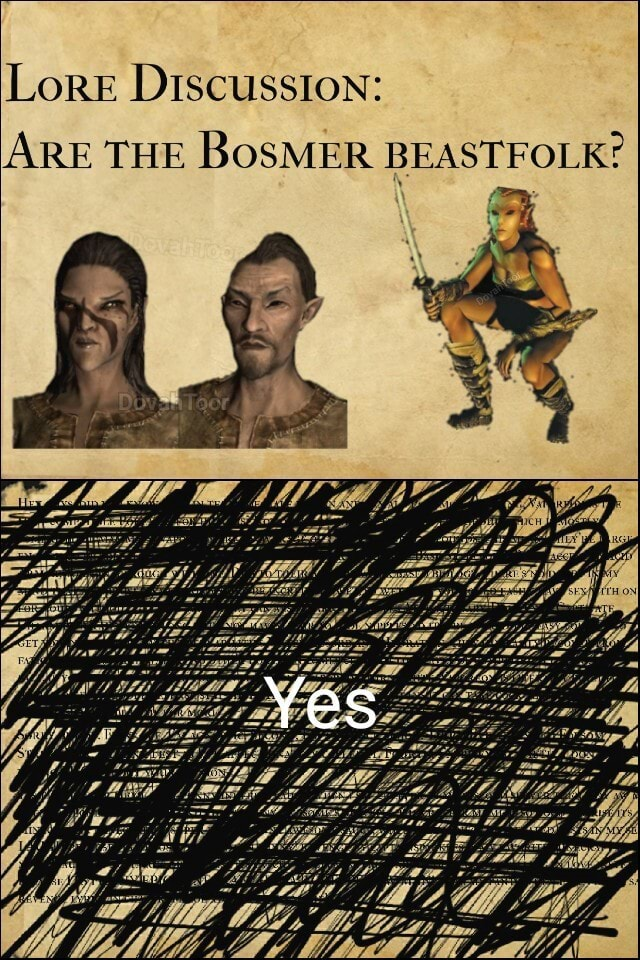 Lore Discussion ARE THE BoSMER BEASTFOLK Yes memes