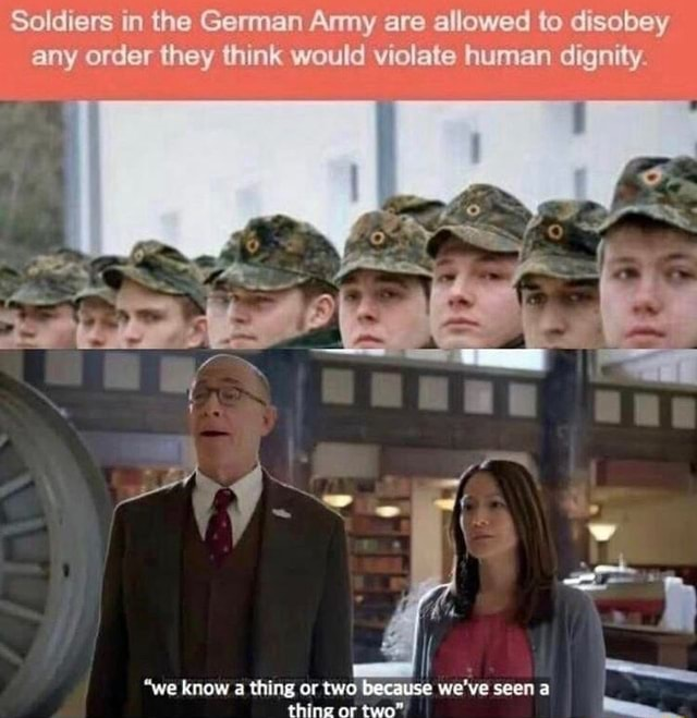 Soldiers in the German Amy are allowed to disobey any order they think would violate human dignity. we know a thing or two because we've seen thing or two memes