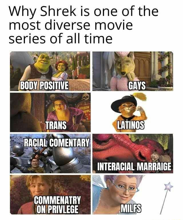 Why Shrek is one of the most diverse movie series of all time BODY POSITIVE GAYS TRANS RAGIAL COMMENTARY INTERACIAL MARRAIGE COMMENRTRY al ON PRIVLEGE memes