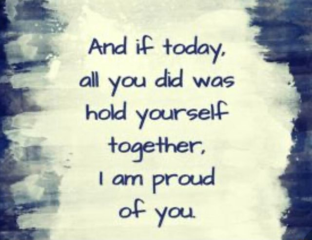 And iF today, all you did was hold yourselF together, am proud of you memes