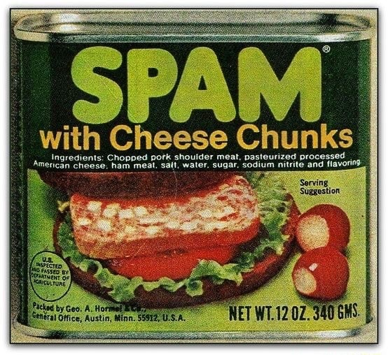 Merican SPAM flavoring I with Cheese Chunks amedtaredients Chopped potk shoulder meat, pasteurized processed merican ham meat. salt, water, sugar, sodium nitrite and flavoring memes