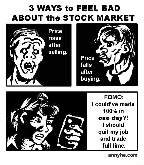 3 WAYS to FEEL BAD ABOUT the STOCK MARKET Price rises after selling. falls after buying. FOMO could've made 100% in one day  should quit my job and trade full time. annyhe com memes
