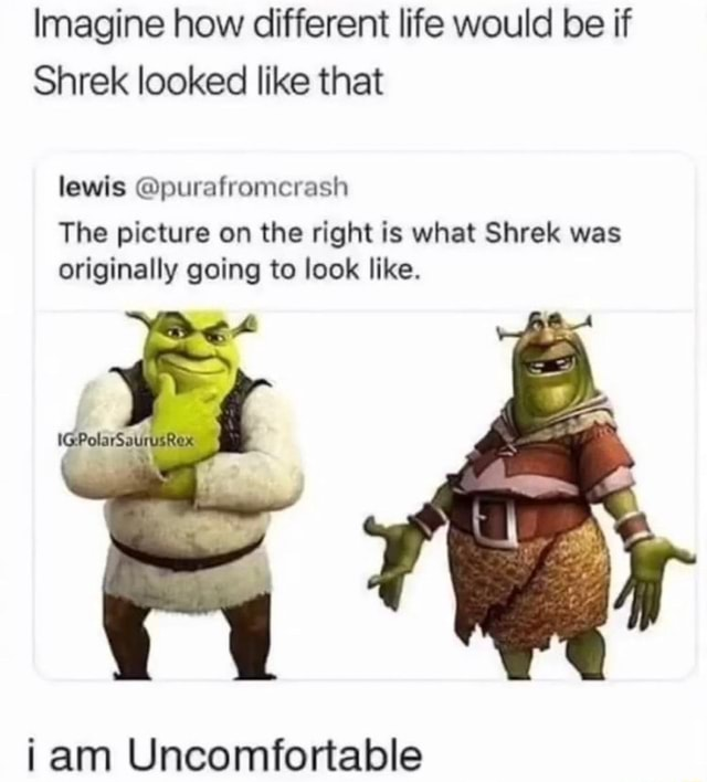 Imagine how different life would be if Shrek looked like that lewis purafromcrash The picture on the right is what Shrek was originally going to look like. am Uncomfortable memes