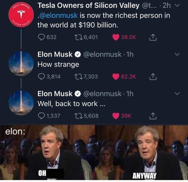 The world at $190 billion. 632 T16,401 Tesla Owners of Silicon Valley t elonmusk is now the richest person in Elon Musk elonmusk How strange 3,814 Elon Musk elonmusk Well, back to work 1,337 elon OH memes
