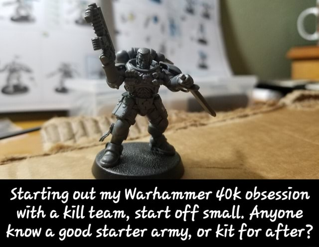 Starting out my Warhammer obsession with kill team, start of f small. Anyone know good starter army, or kit for after Starting out my Warhammer 40k obsession with a kill team, start off small. Anyone know a good starter army, or kit for after memes