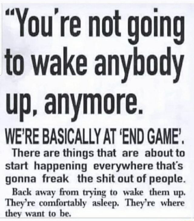 You re not going to wake anybody up, anymore. WE'RE BASICALLY AT END GAME'. There are things that are about to start happening everywhere that's gonna freak the shit out of people. Back away from trying to wake them up. They're comfortably asleep. They're where they want to be meme