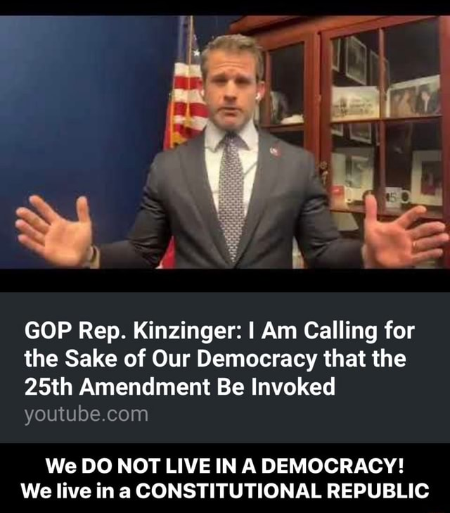 GOP Rep. Kinzinger I Am Calling for the Sake of Our Democracy that the 25th Amendment Be Invoked We DO NOT LIVE IN A DEMOCRACY We live in CONSTITUTIONAL REPUBLIC We DO NOT LIVE IN A DEMOCRACY We live in a CONSTITUTIONAL REPUBLIC meme