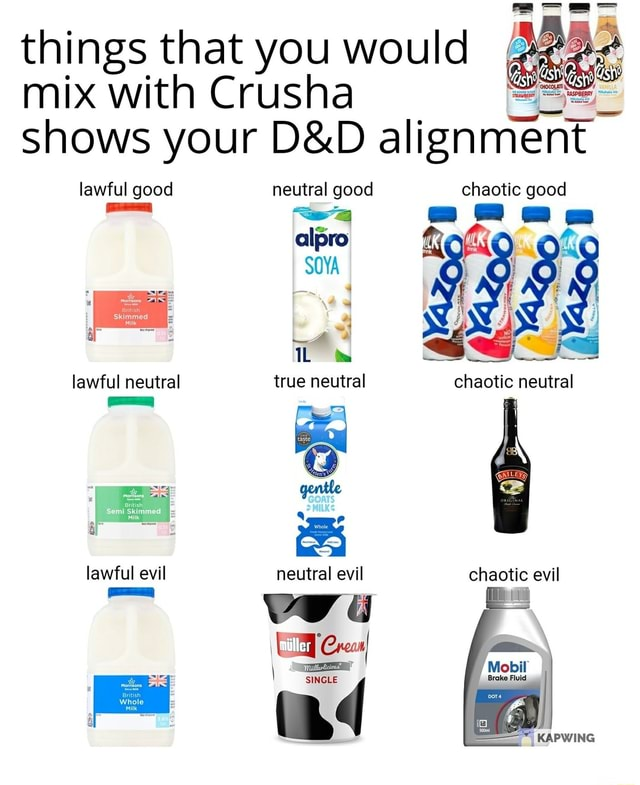 Things that you would mix with Crusha shows your alignment lawful good neutral good chaotic good lawful good alpro SOYA true neutral lawful neutral true neutral chaotic neutral gentle lawful evil neutral evil chaotic evil Coca i md memes