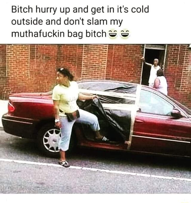 Bitch hurry up and get in it's cold outside and do not slam my in bag bitch meme