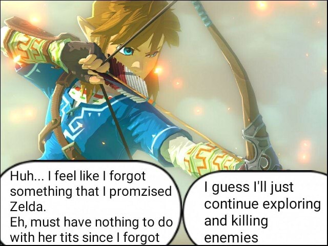 Huh I feel like I forgot something that I promzised Zelda. Eh, must have nothing to do and killing with her tits since I forgot enemies guess I'll just continue exploring and killing enemies memes