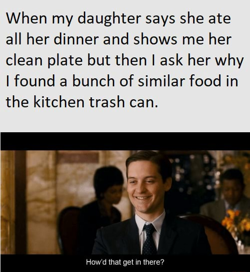 When my daughter says she ate all her dinner and shows me her clean plate but then I ask her why I found a bunch of similar food in the kitchen trash can memes