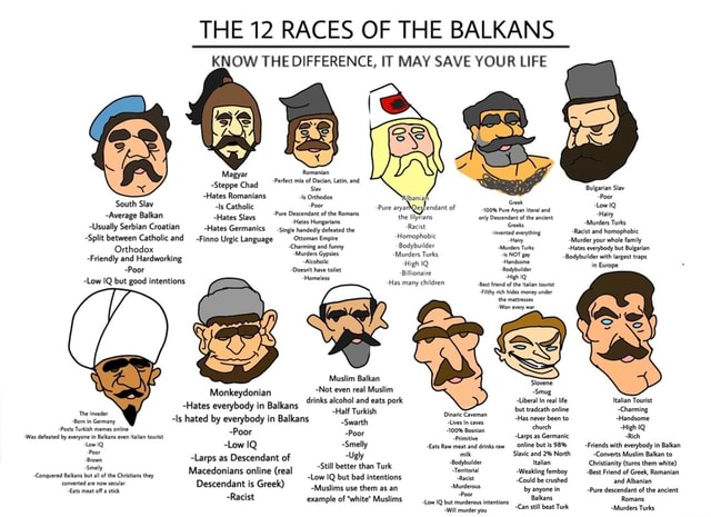THE 12 RACES OF THE BALKANS KNOW THE DIFFERENCE, IT MAY SAVE YOUR LIFE Pec mit of Oian tt nd Steppe Chad Bolgarian Siav uth Slav Hates ls Romanians Catholi Poor of Poor uth Slav ls Catholi ure aya Qesfendant of Average Balkan Hates Slav Descendant of the the Hainy Usually Split Serbian between Croatian Catholic and Hates Fino Germanics Urgic Language Ottoman Empire the Racist act and Split between Catholic and Fino Urgic Language Ottoman Empire Homophobic Murder your whole Friendly and Hardworking Murders Turks Sodybulder wth get HighiQ in Earope Poor Low IQ but good intentions Has many children Muslim Balkan  Monkeydonian Inks alcohol and eats po healan Te Toot Hates everybody in Balkans Inks alcohol and eats po nine tatan Toot Charming Hates everybody in Balkans and eats po nine Charming