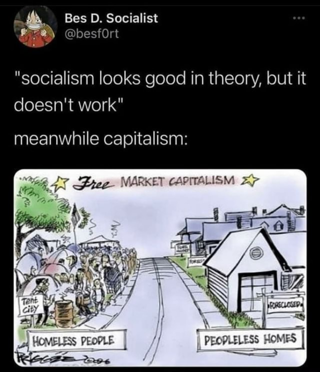 Bes D. Socialist besfOrt socialism looks good in theory, but it doesn't work meanwhile capitalism  Pe   HOMELESS PEOPLE I I PEOPLELESS HOMES I memes