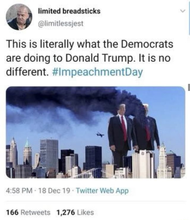 Limited breadsticks Ttessjest This is literally what the Democrats are doing to Donald Trump. It is no different. ImpeachmentDay PM 18 Web 166 Retweets 1,276 L xes meme