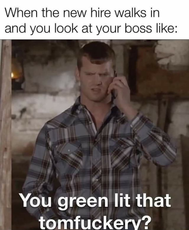 When the new hire walks in and you look at your boss like You green lit that tomfuckerv meme