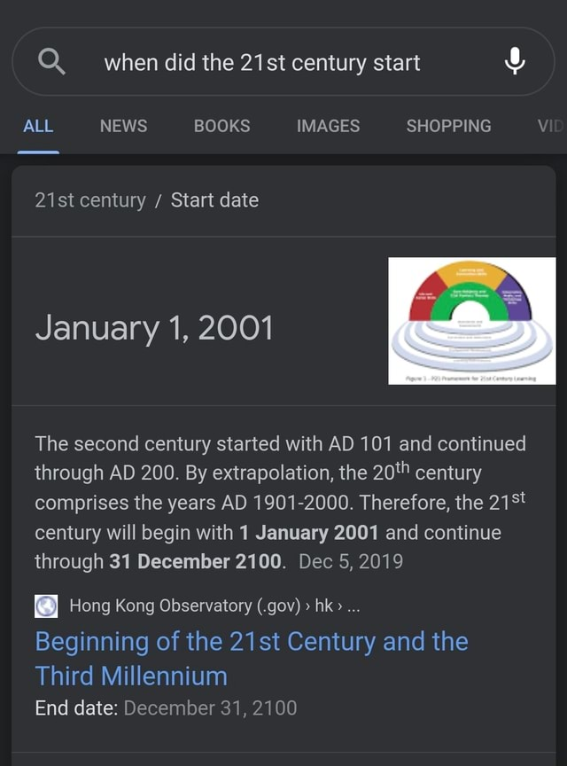 When did the 21st century start ALL NEWS BOOKS IMAGES SHOPPING 21st century Start date January 1, 2001 The second century started with AD 101 and continued through AD 200. By extrapolation, the century comprises the years AD 1901 2000. Therefore, the century will begin with 1 January 2001 and continue through 31 December 2100. Dec 5, 2019 Hong Kong Observatory .gov  hk Beginning of the 21st Century and the Third Millennium End date December 31, 2100 memes