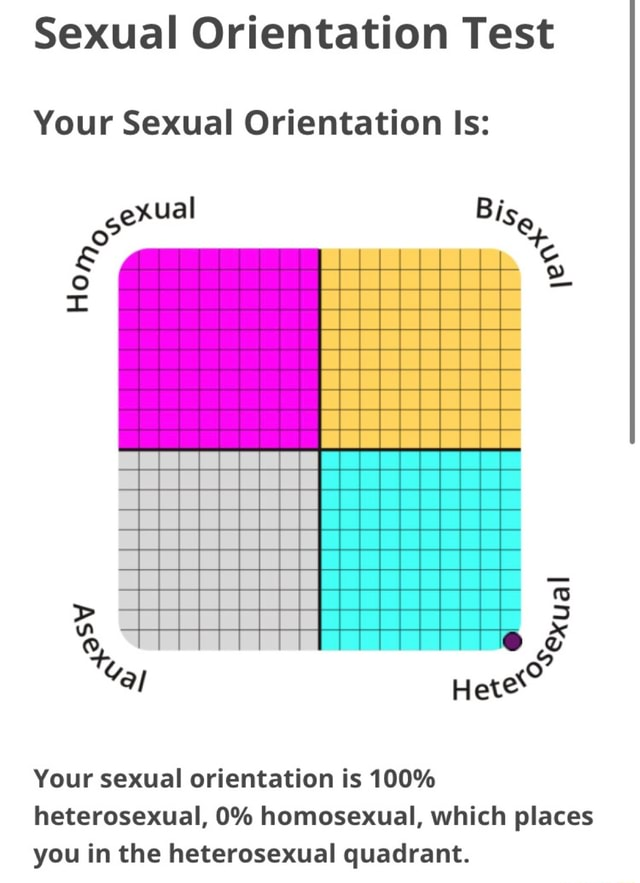 Sexual Orientation Test Your Sexual Orientation Is exual Hete Your sexual orientation is 100% heterosexual, 0% homosexual, which places you in the heterosexual quadrant memes
