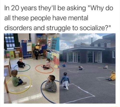 In 20 years they'll be asking Why do all these people have mental disorders and struggle to socialize memes