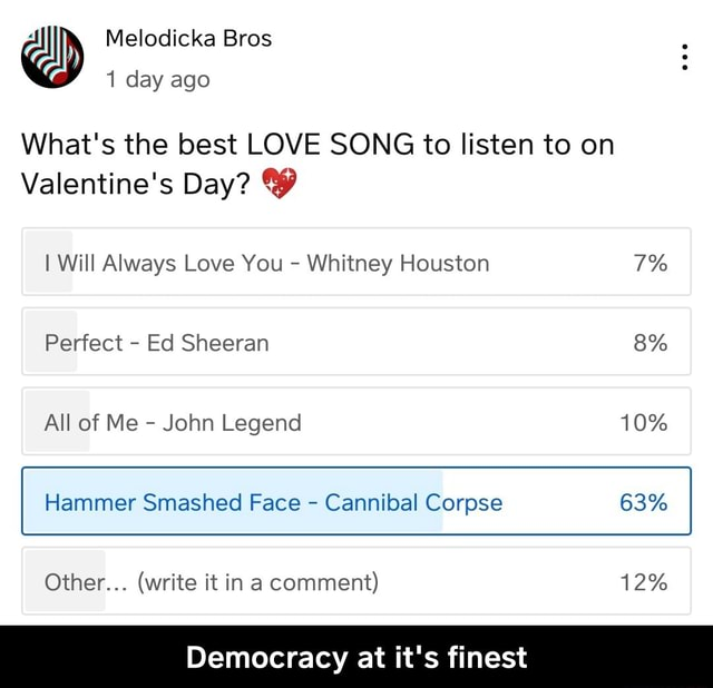 Melodicka Bros 1 day ago What's the best LOVE SONG to listen to on Valentine's Day I Will Always Love You  Whitney Houston Perfect  Ed Sheeran 8% All of Me  John Legend 10% Smashed Face 63% Other  write it in a comment 12% Democracy at it's finest  Democracy at it's finest memes