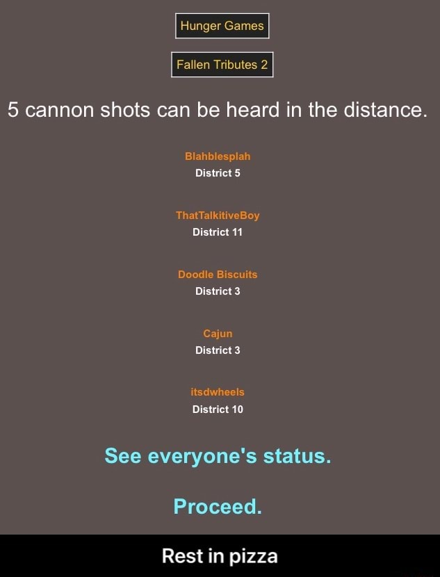 Hunger Fallen Tributes 5 cannon shots can be heard in the distance. District 5 District 11 Diswict District 3 District 10 See everyone's status. Proceed. Rest in pizza  Rest in pizza memes