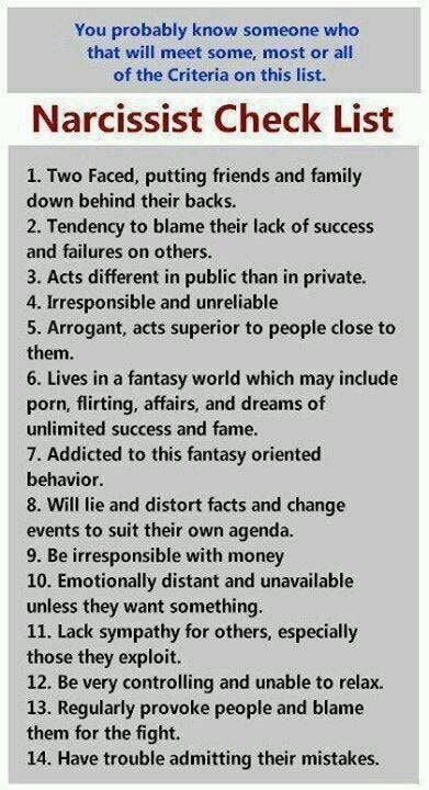You probably know someone who that will meet some, most or all of the Criteria on this list. Narcissist Check List 1. Two Faced, putting friends and family down behind their backs. 2. Tendency to blame their lack of success and failures on others. 3. Acts different in public than in private. 4, Irresponsible and unreliable 5. Arrogant, acts superior to people close to them. 6. Lives in a fantasy world which may include porn, flirting, affairs, and dreams of unlimited success and fame. 7. Addicted to this fantasy oriented behavior. 8. Will lie and distort facts and change events to suit their own agenda. 9. Be irresponsible with money 10. Emotionally distant and unavailable unless they want something. 11. Lack sympathy for others, especially those they exploit. 12. Be very controlling and u