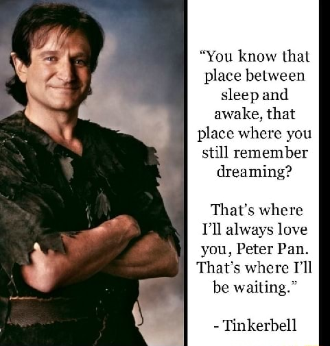 You know that place between sleep and awake, that place where you still remember dreaming That's where I'll always love you, Peter Pan. That's where Tl be waiting. Tinkerbell meme