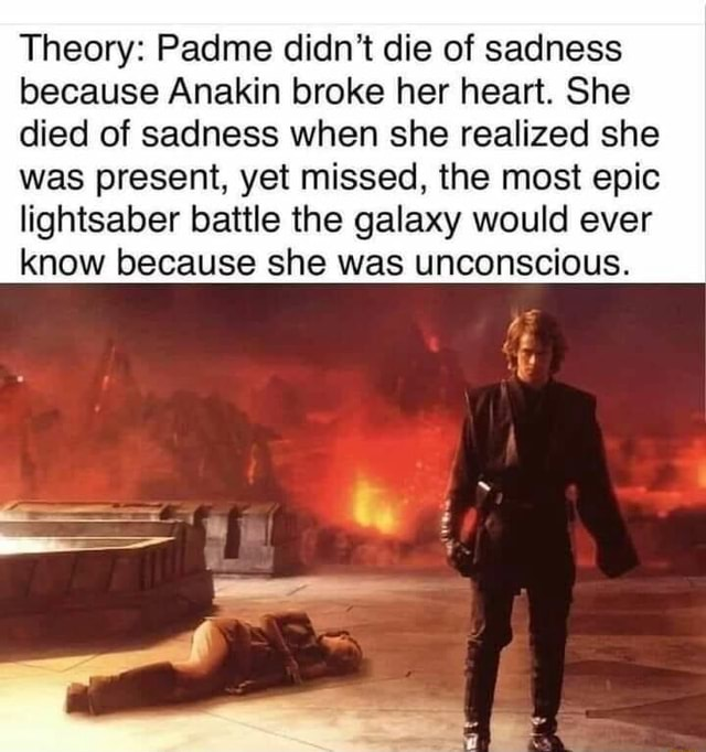 Theory Padme didn't die of sadness because Anakin broke her heart. She died of sadness when she realized she was present, yet missed, the most epic lightsaber battle the galaxy would ever know because she was unconscious memes