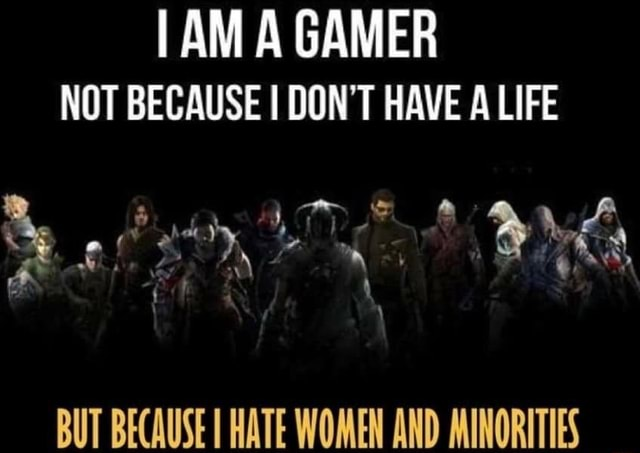 I AM GAMER NOT BECAUSE I DON'T HAVE A LIFE Pa BUT BECAUSE HATE WOMEN AND MINORITIES memes