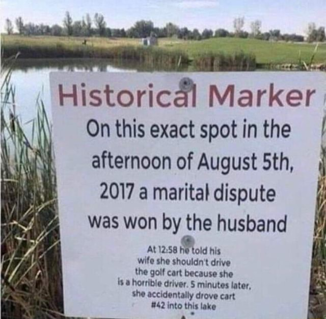 Historical Marker On this exact spot in the I afternoon of August Sth, 2017 a marital dispute was won by the husband ft At he told his wife she shoutdn t drive the golf cart because she horrible driver minutes later, She accidentally drove cart 42 into this lake memes