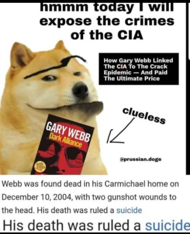 Mmm today I wi expose the crimes of the CIA How Gary Webb Linked The CIA To The Crack Epidemic  And Paid The Ultimate Price Cly prussian.doge Gap Webb was found dead in his Carmichael home on December 10, 2004, with two gunshot wounds to the head. His death was ruled a suicide His death was ruled a suicide memes