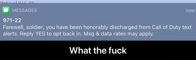 971 22 Farewell, soldier you have been honorably discharged from Call of Duty text alerts. Reply YES to opt back in. Msg  and  data rates may apply. now What the fuck  What the fuck memes