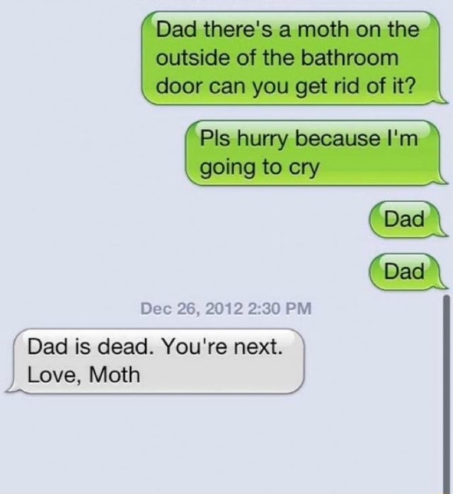 Outside of the bathroom Dad there's a moth on the loor can you get ricl of Pis hurry because Going to cry Dad Dec 26, 2012 PM Dad is dead. You're next. Love, Moth meme