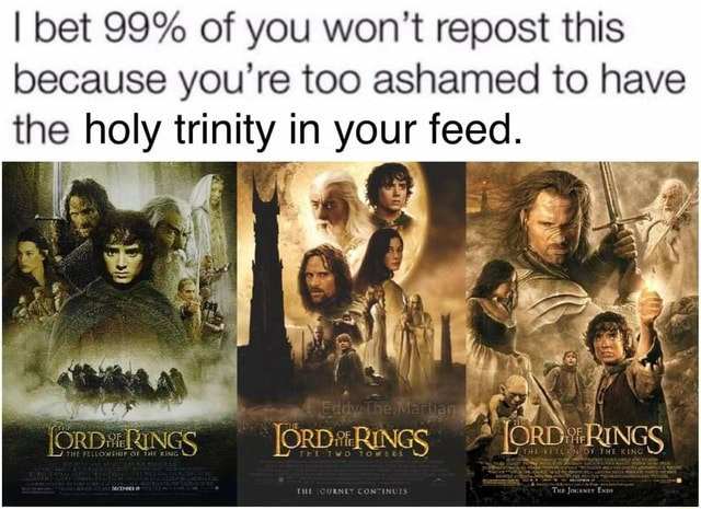 I bet 99% of you won't repost this because you're too ashamed to have the holy trinity in your feed. ORD RINGS ford JORD RINGS meme