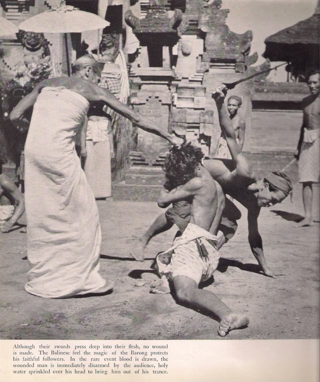 Although their swords press deep into their flesh, no wound is made. The Balinese feel the m gic of the Barong protects his faithful followers. In the rare event blood is drawn, the wounded man is immediately disarmed by the audience, holy water sprinkled over his head to bring him out of his trance memes