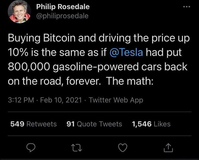 Philip Rosedale Buying Bitcoin and driving the price up 10% is the same as if Tesla had put 800,000 gasoline powered cars back on the road, forever. The math memes